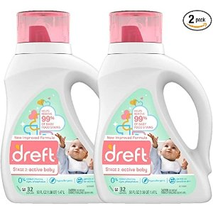 DreftStage 2: Active Hypoallergenic Liquid Baby Laundry Detergent for Baby, Newborn, or Infant, 50 Ounces(32 Loads), 2 Count (Packaging May Vary)
