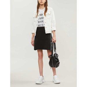 MajeText stripe detail jersey skirt