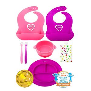 $28.97(原价$35.99) 荣获金奖EVLA'S 宝宝硅胶围嘴+餐具套装,一套搞定宝宝用餐全过程