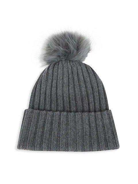 毛球羊绒帽