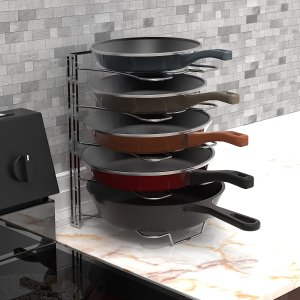 Simple Houseware Kitchen Cabinet 5 Adjustable Compartments Pan and Pot Lid Organizer Rack Holder