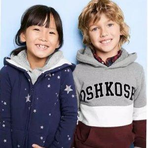 一律5折+额外$8折 0-14岁码都有折扣升级:OshKosh BGosh 儿童实用连帽卫衣卫裤一套$20拿下