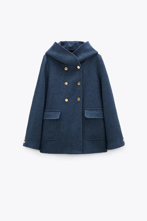 围裹领大衣外套