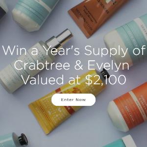 赢得价值$2100大礼一年一次:Crabtree & Evelyn 抽奖活动