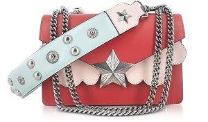 Les Jeunes Etoiles Red, Pink and Light Blue Leather Vega Medium Shoulder Bag at FORZIERI