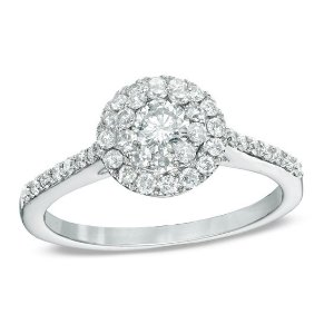 3/4 CT. T.W. Diamond Double Frame Engagement Ring in 14K White Gold|Zales
