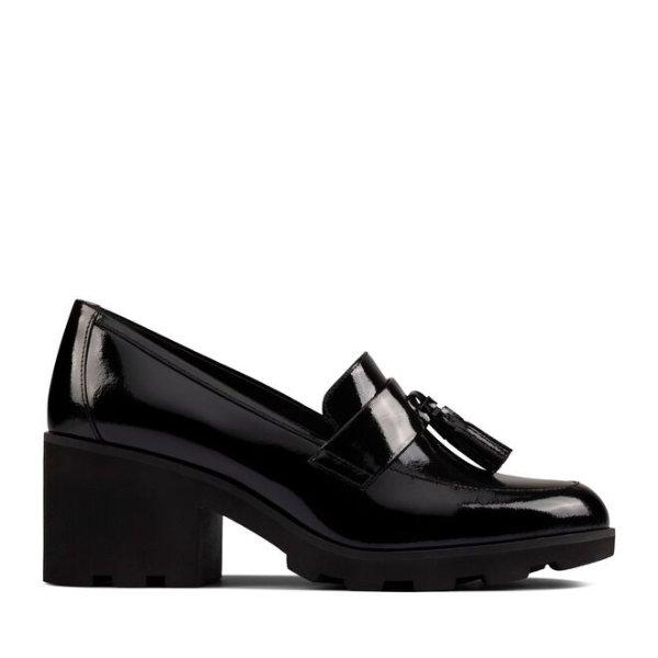 黑色流苏粗跟鞋