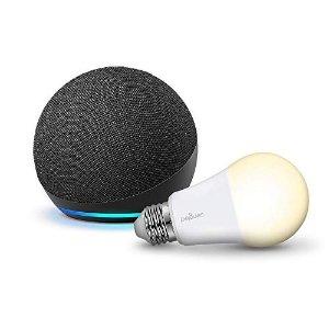 炭黑色Echo Dot 4+免费灯泡