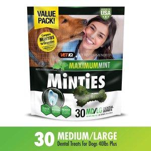 $6.99 包邮VetIQ 薄荷味狗狗洁牙棒 30支 适合40磅以上体重