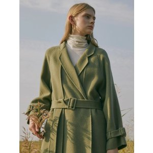Handmade Wool Double Layer Belted Coat Olivegreen