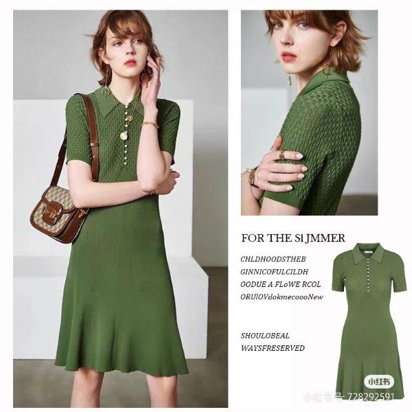 牛油果绿连衣裙