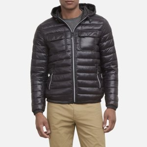 Kenneth Cole ReactionLightweight Packable Nylon Puffer Jacket with Hood