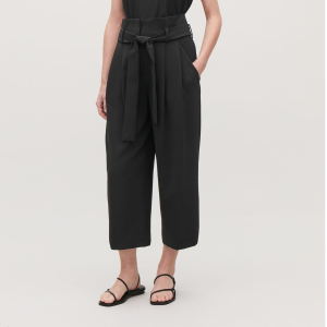 BELTED PAPERBAG CULOTTES - Black - Trousers - COS