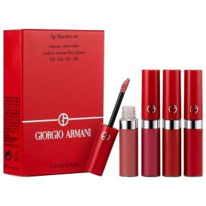 $72.00(价值$135) 含#206上新:Armani 阿玛尼官网红管唇釉套装热卖 4支网红色