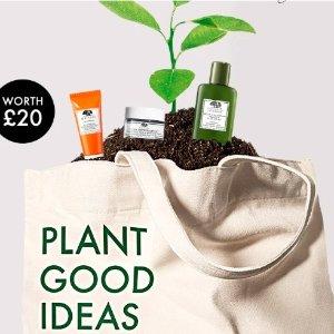 订单满£60赠帆布包+3件明星产品Origins 油痘肌真爱品牌 咖啡面霜、菌菇水收起来