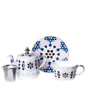 Basket Tea For One Pink/White 茶具套装