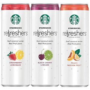 StarbucksRefreshers Sparkling Juice Blends, 3 Flavor Variety Pack with Coconut Water, 12 Ounce, 12 Cans