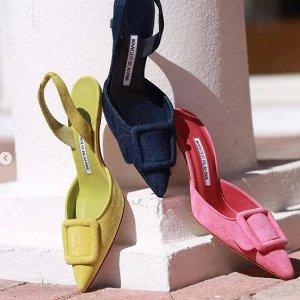 无门槛6折 £357收方扣高跟鞋Manolo Blahnik 轻奢美鞋闪促 收钻扣、方扣、穆勒高跟鞋