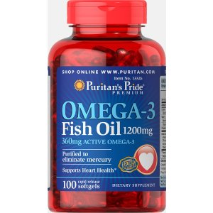 Puritan's PrideOmega-3 Fish Oil 1200 mg (360 mg Active Omega-3) 100 Softgels | Top Sellers Supplements | Puritan's Pride