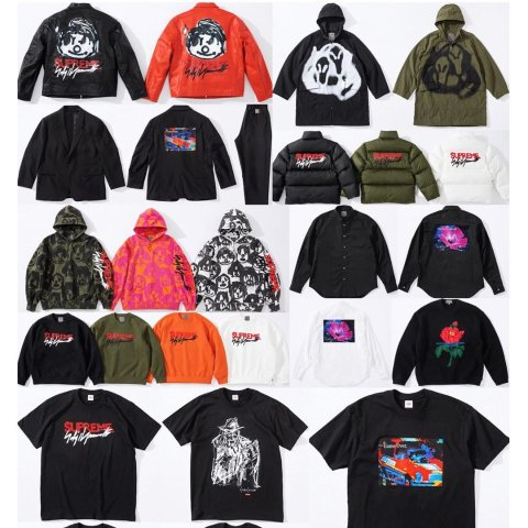 More releasing in store and onlineSupreme Week 4 Work Jacket, Down Jacket, Parka, Wool Suit, Sweater, Hooded Sweatshirt, Crewneck, Button Up Shirt, 5 Graphic Tees, Beanies, Stickers and more