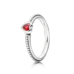 PandoraOne Love Ring, Scarlet Synthetic Ruby