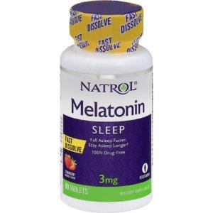 Natrol Melatonin Fast Dissolve Strawberry - 3 mg - 90 Tablets Sleep Aids - Walmart.com