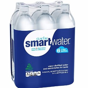$6Glaceau Smartwater Vapor Distilled Water, 33.8 Ounce (Pack of 6)