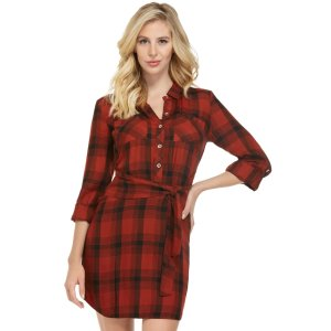 Sharel Plaid Shirtdress at Guess