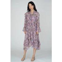 Ecru Emissary 晒货同款紫色印花雪纺裙