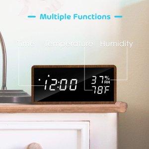 $23(原价$30)Meross 实木LED显示时钟 亮度可调+声音唤醒功能