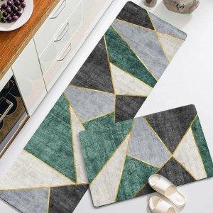 SheIn厨房几何图形地毯