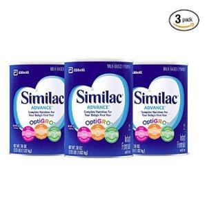 低至7.5折 + 包邮Similac Advance/Sensitive 婴幼儿含铁婴儿配方奶粉,0-12个月
