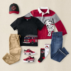 7折 英伦范儿背带T恤$17Gymboree 小小消防队长系列 棒球帽$14 消防车印花T恤$16