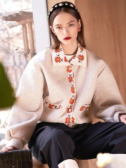 花卉毛衣外套