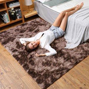 $25.49(原价$50.99)Leesentec 毛绒大地毯 160*200cm 蓬松防滑软绵绵