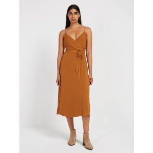 Satin Velvet Mini Wrap Dress - Sandy Brown