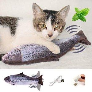 100%有机猫薄荷!减轻猫咪情绪压力逗猫玩具 - 仿真鱼