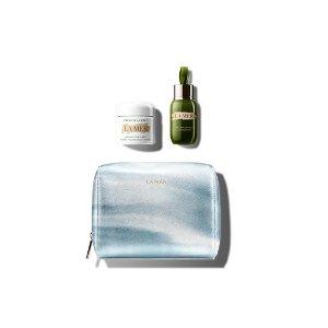 La Mer修复精华+面霜+化妆包套装