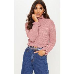 PrettyLittleThingRose Knit High Neck Ruffle Trim Crop Sweater