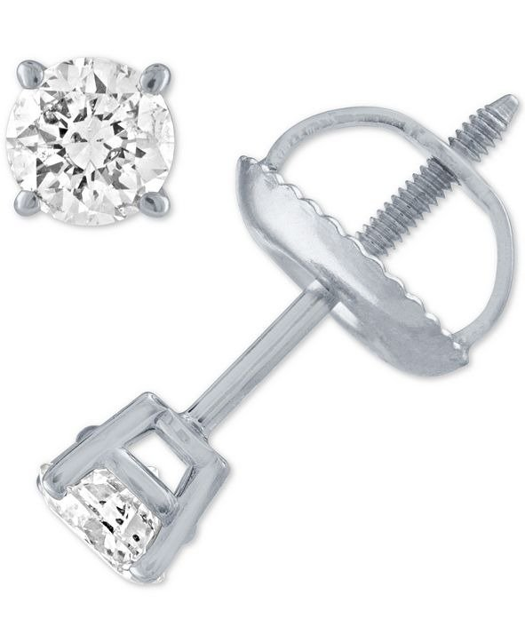1/3 ct. t.w. 14K白金钻石耳钉