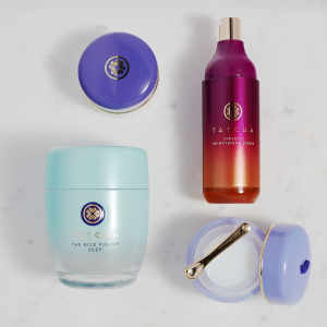 Last Day: Get 3 complimentary Kyoto, Plum, and Cherry mini lipsticks ($60 value)With $100+ valued set Purchase @ Tatcha