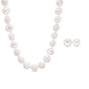 8.0 - 9.0mm Baroque Cultured Freshwater Pearl Strand Necklace and Stud Earrings Set with Sterling Silver Clasp|Zales