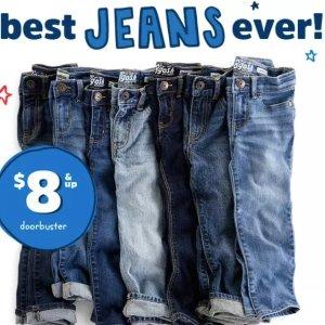 $8起 0-14岁尺码都有OshKosh BGosh 儿童牛仔裤优惠 0-14岁都有