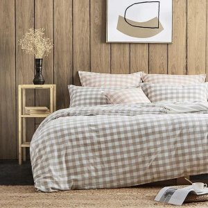 Dealmoon 4-Piece Plaid Cotton Bed Set with Duvet Cover - Queen/King - Fitted/Flat
