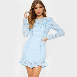 PrettyLittleThingDusty Blue Broderie Anglaise Frill Collar Shift Dress