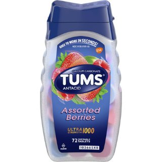 TUMS Antacid Chewable Tablets for Heartburn Relief, Ultra Strength, Assorted Berries, 72 Tablets