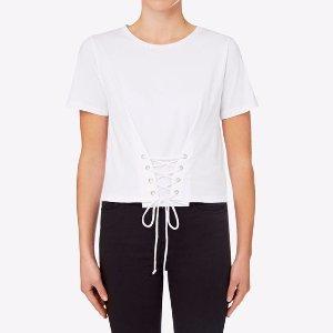 白色绑带T恤