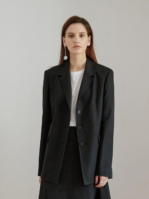 Black Three Button Linen Single Long Jacket | W Concept
