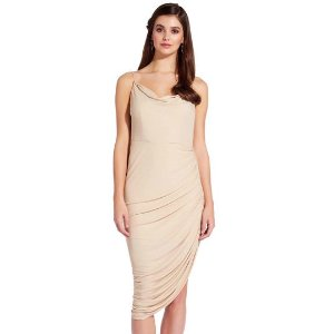 Asymmetrical Ruched Dress with Cowl Neck