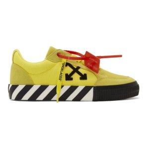 Off-White美国定价$315男士明黄色低帮运动鞋